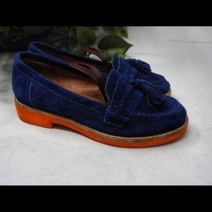 Jeffrey Campbell CA Prep Blue Suede Orange Loafer